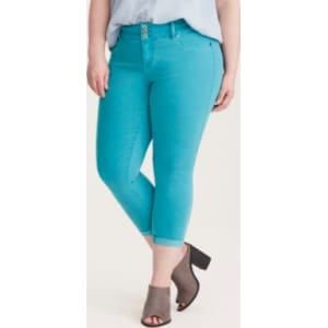 90f8d072582 Higher-Rise Cropped Jeggings in Bright Blue Wash from Torrid.