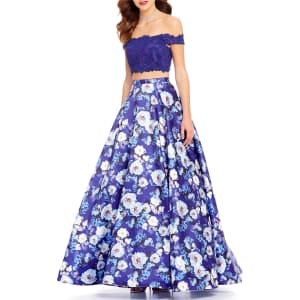 1262384d682 Ellie Wilde Beaded Lace Off-The-Shoulder Top To Floral-Printed Skirt ...