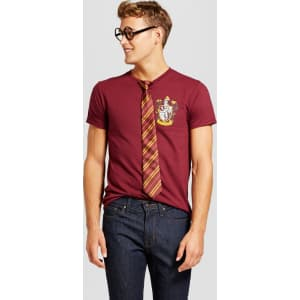 0c00750cc Men's Harry Potter Graphic T-Shirt With Glasses and Tie - Burgundy ...