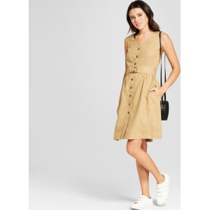 how to find new high big selection of 2019 Women's Button-Up Dress - Mossimo Khaki Xl, Brown