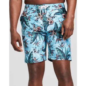 43847f700c1 Men's 9 Tropical Floral Print Swim Trunks - Goodfellow & Co Teal 30 ...