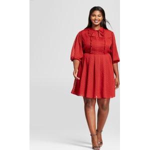 fd155b1be8c Women s Plus Size Ruffle Tie Neck Midi Dress - A New Day Rust 3x ...