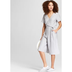 a095439e51e Women s Striped Short Sleeve Tie Waist Jumpsuit - A New Day Gray ...