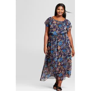 Women\'s Plus Size Floral Short Sleeve Maxi Dress - A New Day Navy 4x, Blue
