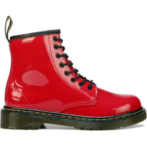 9dfa27f69c20 Dr. Martens Kids  Delaney Combat Boot Pre Grade School Boots (Red Patent)  from Famous Footwear.