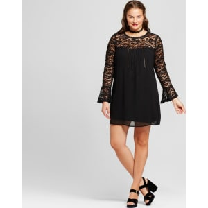 Women\'s Plus Size Lace Yoke Bell-Sleeve Dress - Lily Star (Juniors\') -  Black 2x