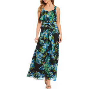 bc0ee06463c Adrianna Papell Pop Over Burnout Floral Print Maxi Dress from Dillard s.