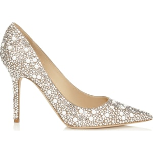 c50da1256ab9 Abel White Suede With Crystal Mix Pointy Toe Pumps from Jimmy Choo.