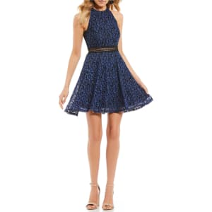 90e45df4068 Jodi Kristopher Two-Tone Lace Fit-And-Flare Dress from Dillard s.