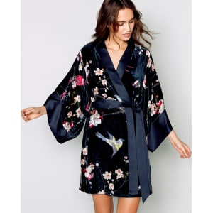 B By Ted Baker Navy Velvet Flight Of The Orient Dressing Gown From