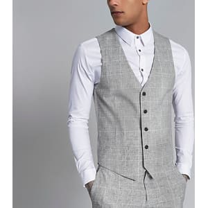 1ab67d72 Mens Light Grey Textured Check Suit Waistcoat from River Island.