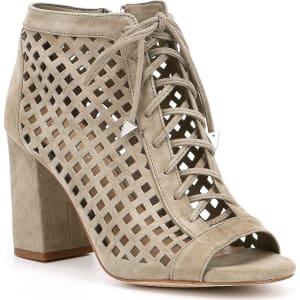 feaaca90c94 Gianni Bini Bennie Suede Laser-Cut Peep-Toe Block Heel Booties from ...