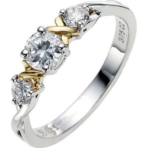 9c372ed83 Silver & 9ct Yellow Gold Cubic Zirconia Trilogy Ring from H.Samuel.