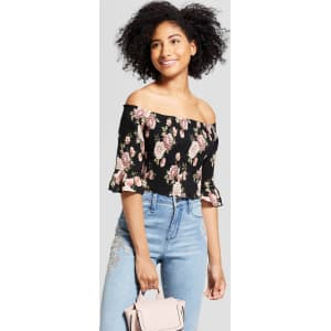684e328a Women's 3/4 Sleeve Floral Printed Smocked Off the Shoulder Top ...