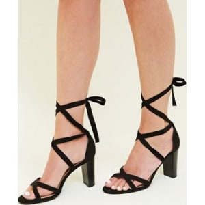 2c2fd0a32e0 Wide Fit Black Suedette Ankle Tie Wood Block Heels New Look from New Look.