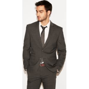 626ab7826 Express Mens Slim Charcoal Gray Check Stretch Wool-Blend Suit Jacket ...