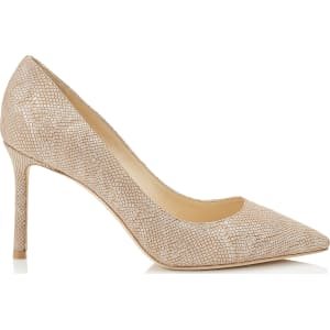 fb9af7777738 Romy 85 Nude Metallic Embossed Lame Leather Pointy Toe Pumps from ...