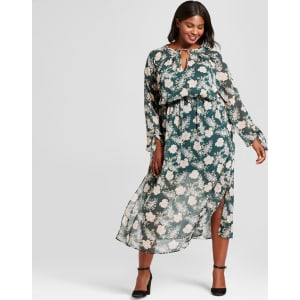 Women\'s Plus Size Floral Maxi Dress - A New Day Green 2x