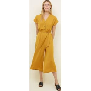 bb4f8b9639 Mustard Button Front Linen-Look Jumpsuit New Look from New Look.