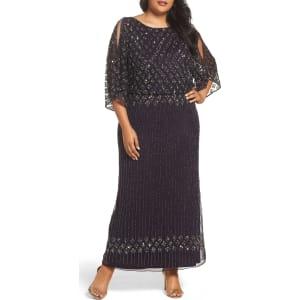Plus Size Women\'s Pisarro Nights Diamond Motif Mesh Blouson Gown