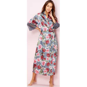 fashion style hot product best The Collection Grey Floral Print Satin Dressing Gown
