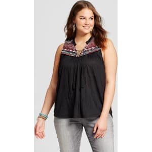 b4f9445a5943a5 Women's Plus Size Sleeveless Embroidered Top Back 3x - Almost Famous ...