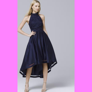 38aee5c9a8 Women s Nicole Miller New York High-Low Lace and Satin Dress by ...