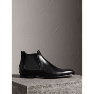 Perforated Detail Leather Chelsea Boots - Black Burberry
