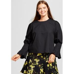 47e744cc3f8b73 Women's Plus Size Bubble Sleeve Shirt - Who What Wear Black X from ...
