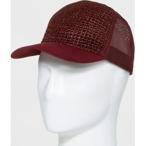 Men s Brick House Straw Twill Mesh Baseball Hat - Goodfellow   Co Red One  Size 85f980a79ee6