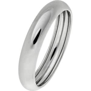 580b99b7f0c7b Revere 9ct White Gold Rolled Edge D-Shape Wedding Ring - 4mm