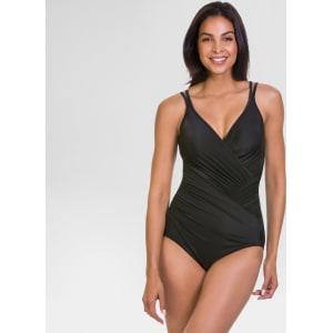 1d0306e8b8dc Women's Slimming Control V-Neck One-Piece Swimsuit Black 10 ...