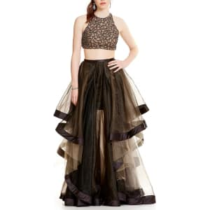 cdc4f70c28 Glamour by Terani Couture High Neck Beaded Bodice Crop-Top Two-Piece ...
