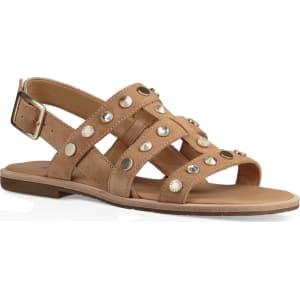 Zariah Suede Crystal and Metal Stud Detail Sandals