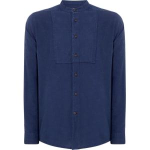 Men S Howick Long Sleeve Grandad Collar Shirt Blue From House Of