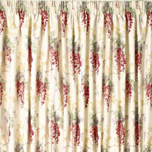 Wisteria Cranberry Pencil Pleat Ready Made Curtains