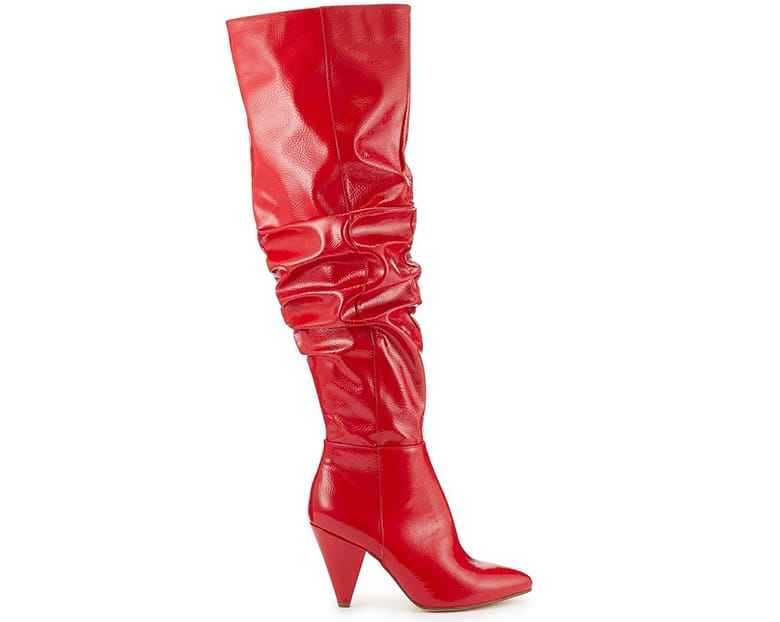 red patent thigh high slouch boots