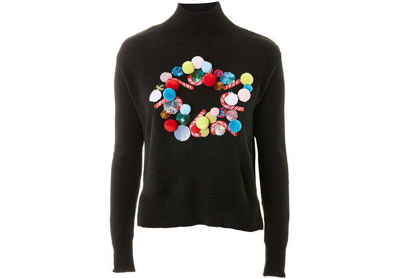 topshop black wreath christmas jumper