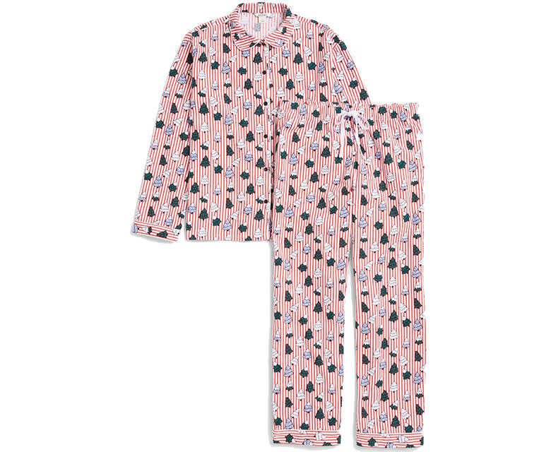 monki stripe pyjama pattern set candy cane