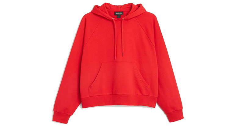bright red cropped hoodie