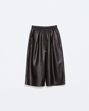 Faux-Leather Loose Trousers, Zara