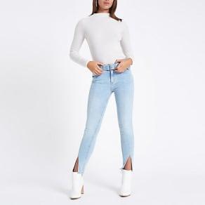 Womens Blue Amelie mid rise skinny split hem jeans