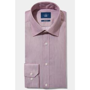 Moss 1851 Tailored Fit Berry Single Cuff Twill Stripe Non Iron Shirt