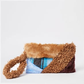 Womens Brown faux fur patch clutch bag
