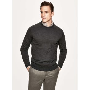Jacquard knit wool, cashmere and silk crew neck sweater