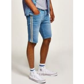 Mens Blue Stretch Skinny Side Taping Shorts, Blue