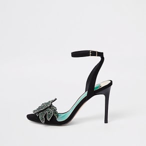Womens Black embellished skinny heel sandals