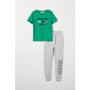 H & M - T-shirt and joggers - Green
