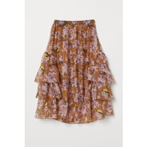 H & M - Patterned flounced skirt - Beige