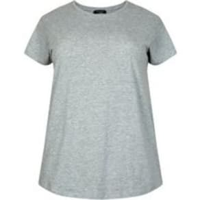 Curves Grey Cotton Blend T-Shirt New Look
